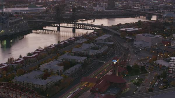 Aerial shot of Portland in early morning.   Royalty-free stock video