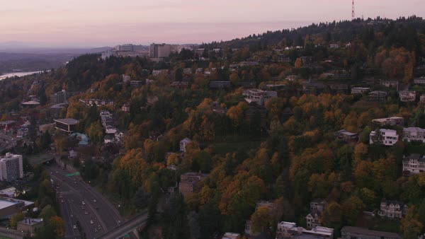Aerial shot of Portland's west hills in Fall.   Royalty-free stock video