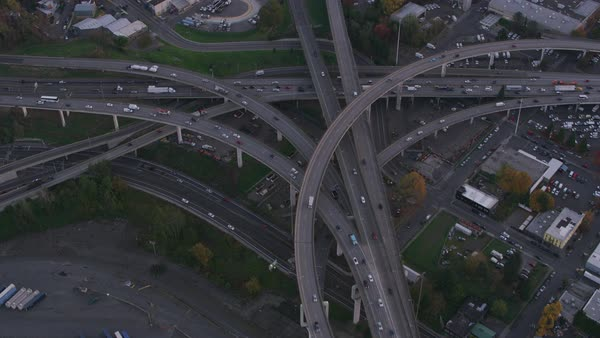 Aerial shot of freeway intersection in Portland, Oregon.   Royalty-free stock video