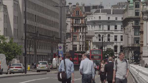 Medium shot of people walking on a street in London, UK Royalty-free stock video