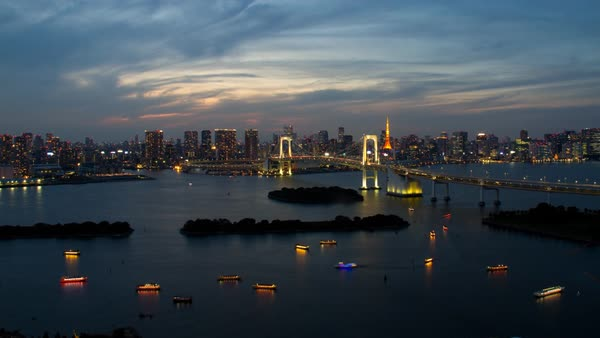 Tokyo Tower and Rainbow Bridge at night timelapse Royalty-free stock video