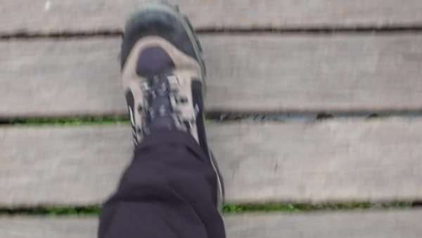 Man walking outdoors, hiking boots, journey Royalty-free stock video