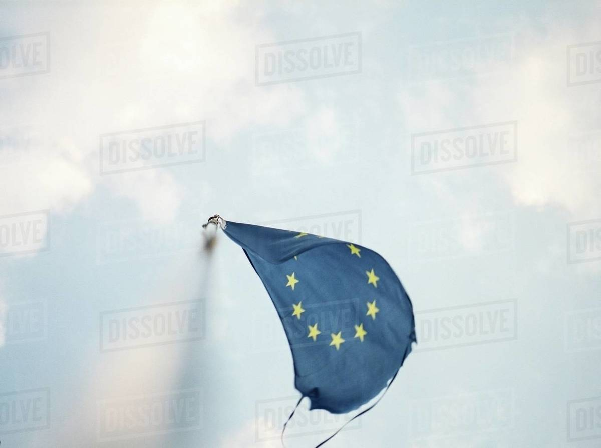 European flag waving on a pole  Royalty-free stock photo