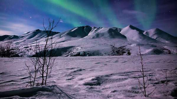 Timelapse of Aurora waving over mountains in Tombstone Territorial Park, Yukon, Canada Royalty-free stock video