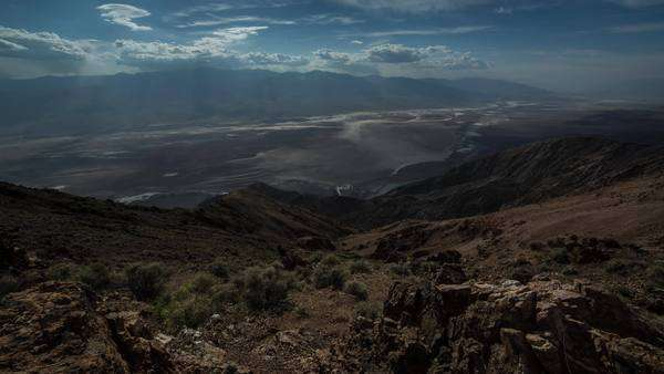 Dantes view in Death Valley California looking at clouds roll by Royalty-free stock video