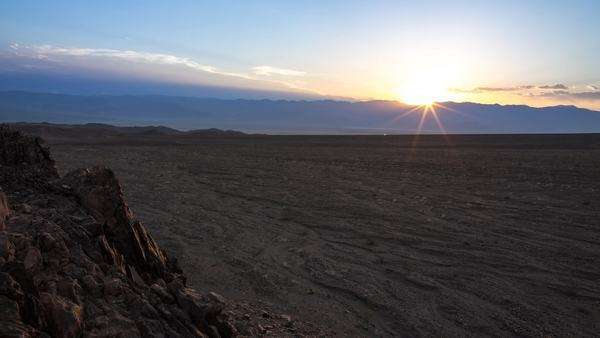 Timelapse of a sunset from a small hill in death valley California Royalty-free stock video