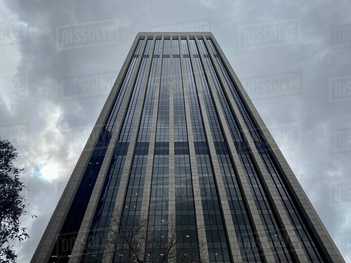 LOS ANGELES, CA, MAR 2020: looking straight up at Bank of America skyscraper on overcast day in Downtown Royalty-free stock photo