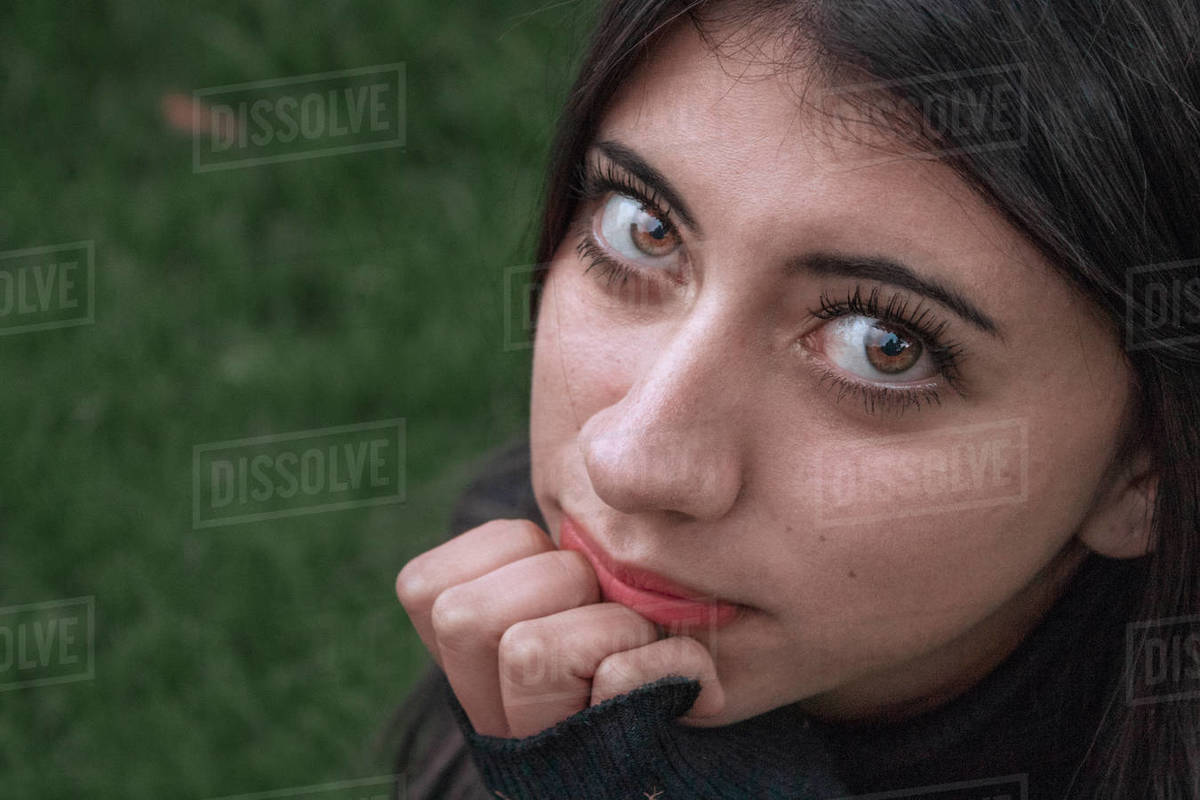Close up portrait of a beautiful girl with green eyes Royalty-free stock photo