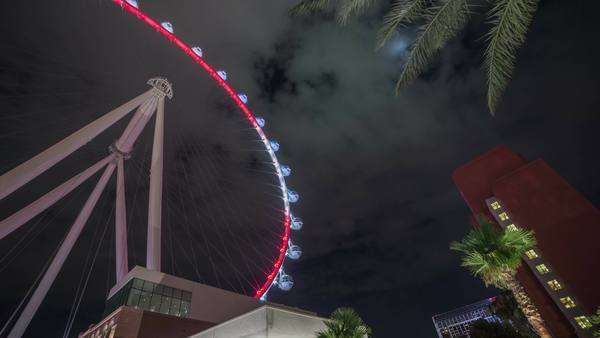 July 2014, Las Vegas, Nevada. The Linq High Roller Ferris Wheel at night, timelapse Royalty-free stock video