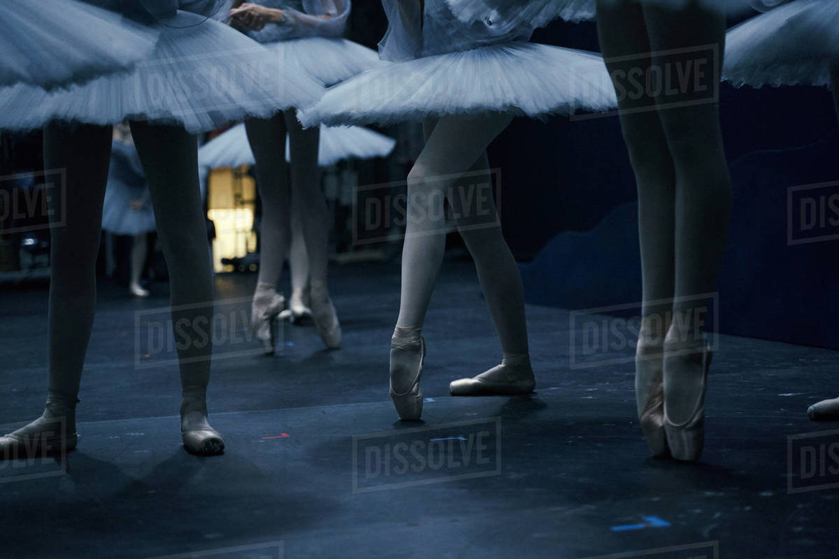 Ballerinas gracefully rehearsing a dance on the stage of the theater in blue light. Royalty-free stock photo
