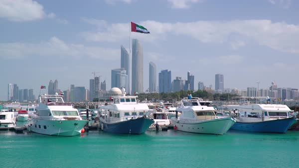 Modern city skyline and Marina, Abu Dhabi, United Arab Emirates, UAE Royalty-free stock video