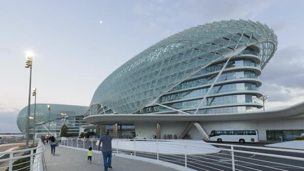 Yas Marina Hotel, Yas Island, Abu Dhabi, United Arab Emirates, UAE Royalty-free stock video