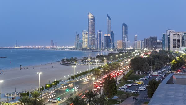 Modern city skyline and corniche time lapse, Abu Dhabi, United Arab Emirates, UAE Royalty-free stock video