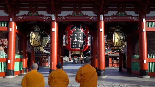 Japan, Tokyo, Asakusa, Sensoji Temple, Hozomon or Treasure House Gate Royalty-free stock video