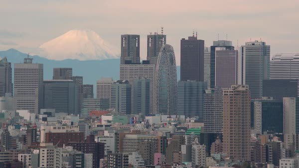 Japan, Tokyo city skyline and Mount Fuji Royalty-free stock video