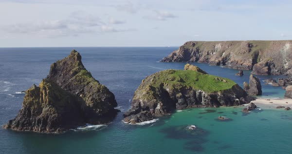 United Kingdom, Cornwall, The Lizard, Rocky coastline and beaches at Kynance Cove Royalty-free stock video