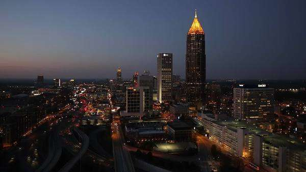 Elevated view over traffic and the Midtown Atlanta skyline, Georgia, United States of America Royalty-free stock video