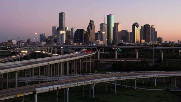 Houston, Texas, USA, highway, city skyline, dusk to night Royalty-free stock video