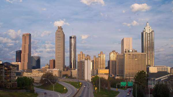 Elevated view over Freedom Parkway and the Downtown Atlanta skyline, Georgia, United States of America Royalty-free stock video