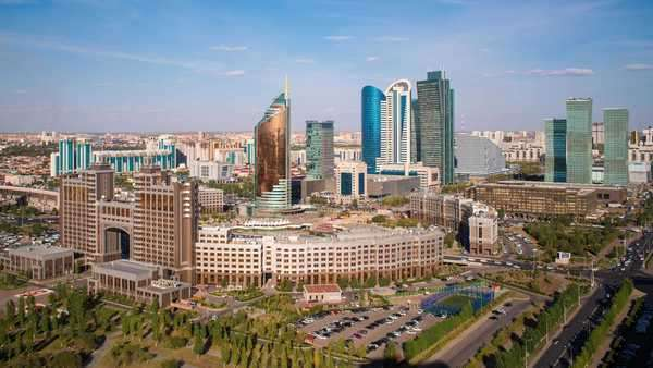 Central Asia, Kazakhstan, Astana, elevated view over the city center and central business district- timelapse Royalty-free stock video