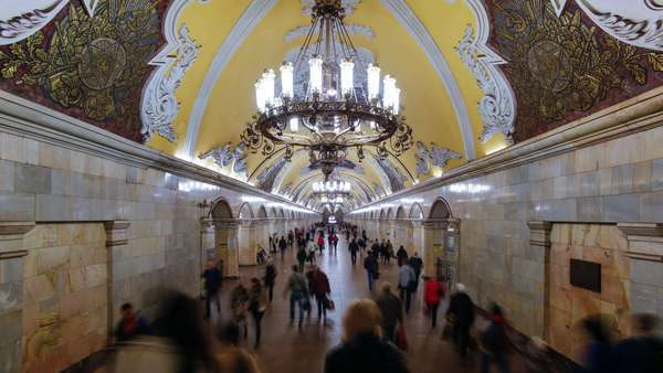 Spectacular vaulted ceiling and chandeliers in Moscow's Komsomolskaya metro station, Russia - timelapse Royalty-free stock video