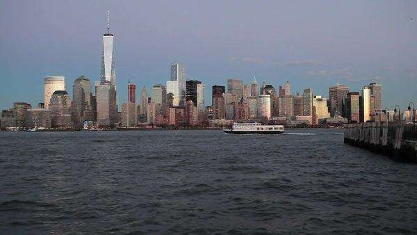One World Trade Center and Downtown Manhattan across the Hudson River, New York, Manhattan, United States of America Royalty-free stock video