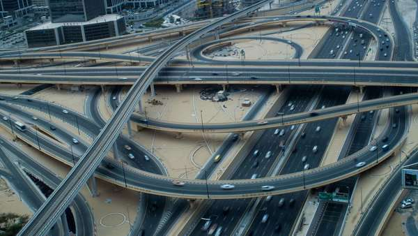 United Arab Emirates, Dubai, timelapse over Sheikh Zayed Rd and Financial Centre Road Interchange - timelapse Royalty-free stock video