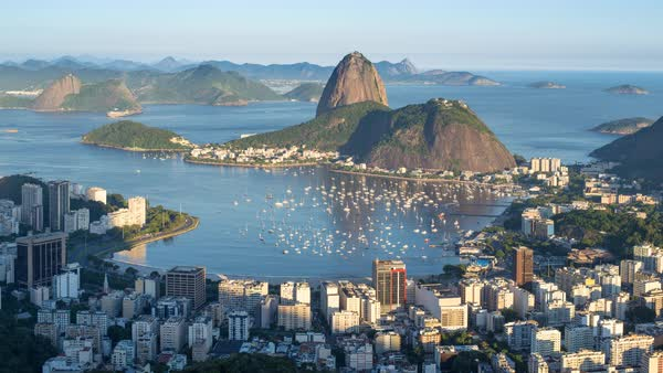 Time lapse of Pao Acucar or Sugar loaf mountain and the bay of Botafogo, Rio de Janeiro, Brazil, South America Royalty-free stock video