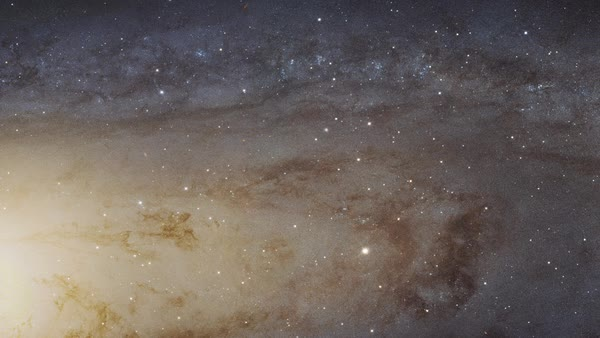 Pan across the largest Hubble Space Telescope image ever assembled, a sweeping view of a portion of the Andromeda galaxy (M31) Royalty-free stock video