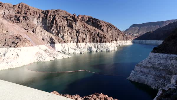 Lake Mead at exceptionally low levels following the four year long drought, with the obvious level that the lake used to be at, Nevada, USA. Filmed in 2014. Rights-managed stock video