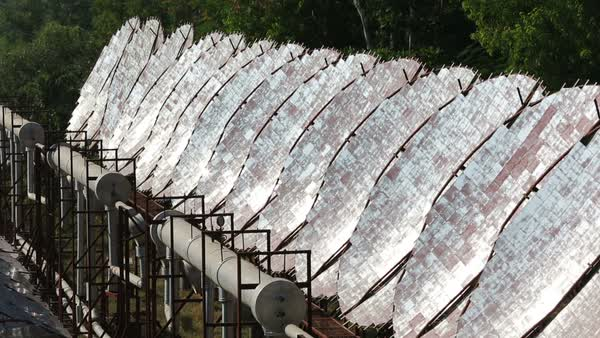 Solar air conditioning at the Barefoot College in Tilonia, Rajasthan, India. Rights-managed stock video