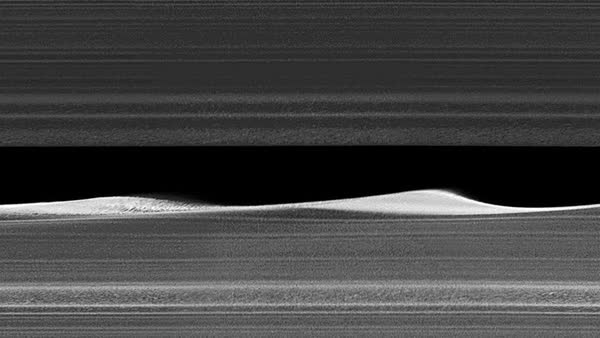 Daphnis and Saturn's rings, Cassini image Royalty-free stock video