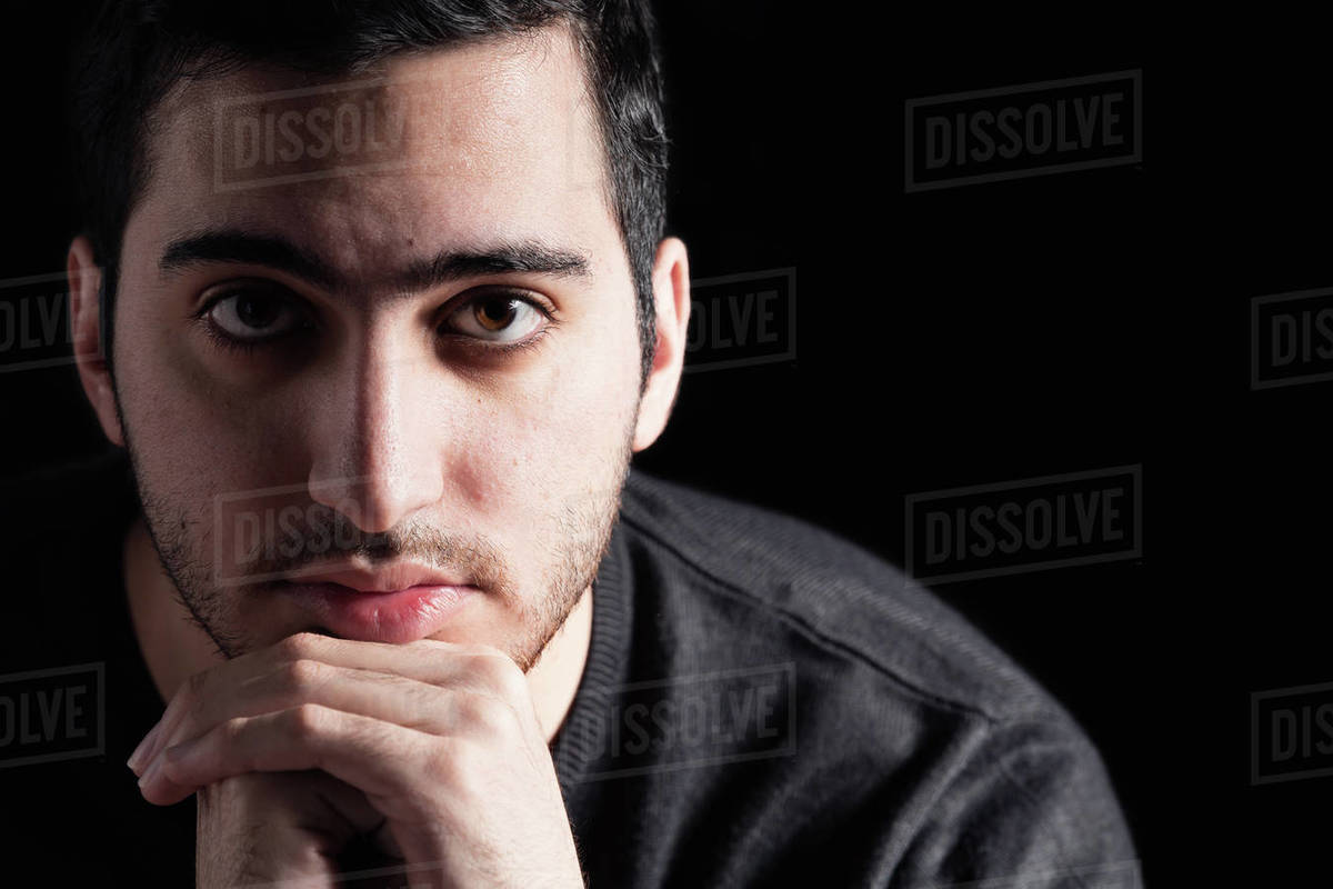 Young Man on Black Background Royalty-free stock photo