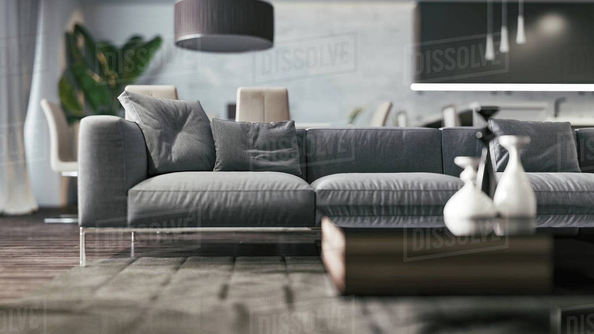 Close up view of a modern sofa in the interior. 3d illustration Royalty-free stock photo