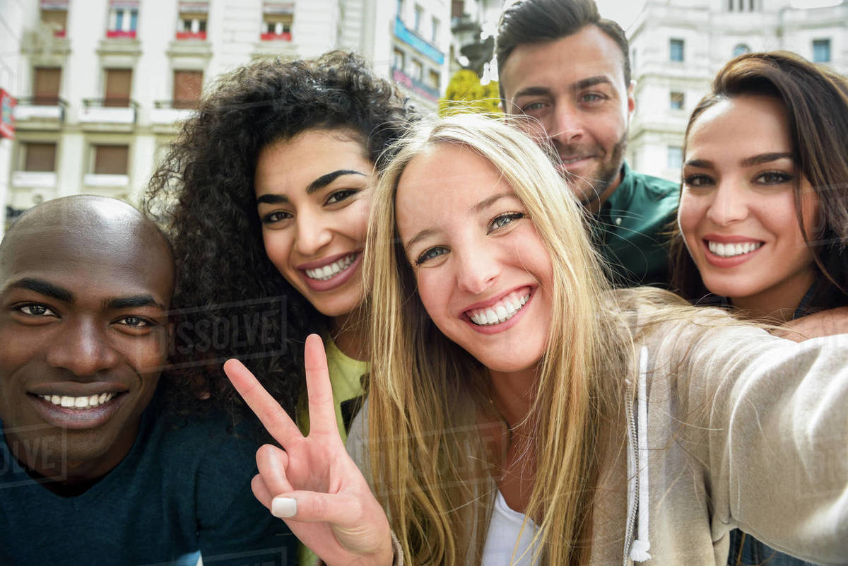 Group of young people taking selfie outdoors Royalty-free stock photo