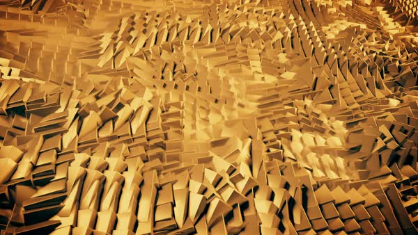 Background loop of golden waving cubes. Abstract gold cubes smoothly grinding away. Royalty-free stock video