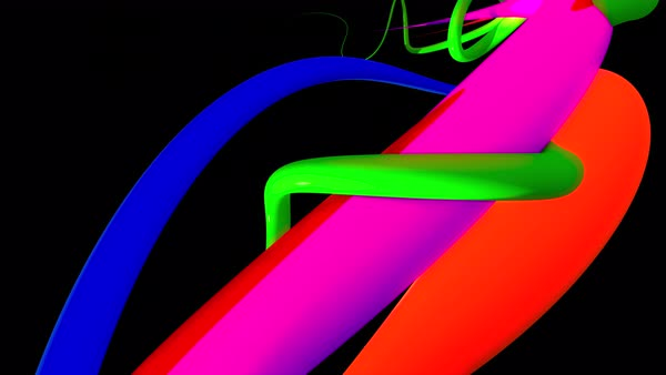 Swirly lines. Colorful glossy swirls flying through the air. Seamless loop. Royalty-free stock video