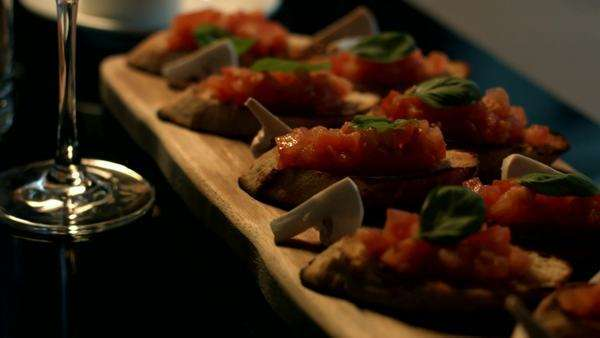 Delicious bruschetta in close-up. Royalty-free stock video