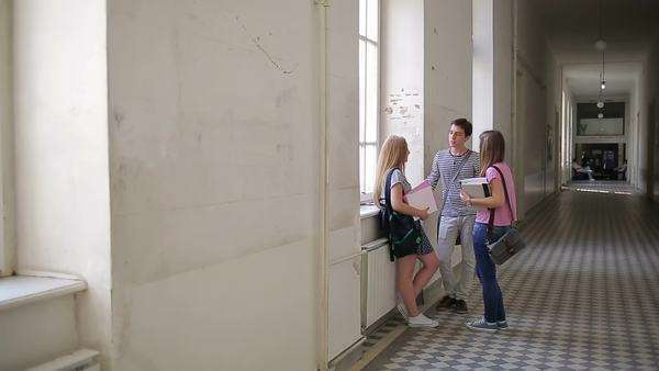 Group of Caucasian college students standing in the hallway and chatting during the break. Royalty-free stock video