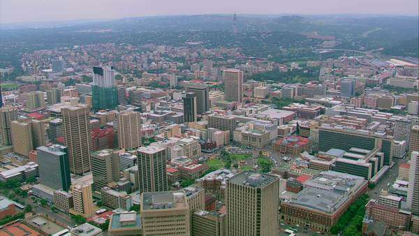 Aerial shot of Pretoria city centre and Church Square Rights-managed stock video