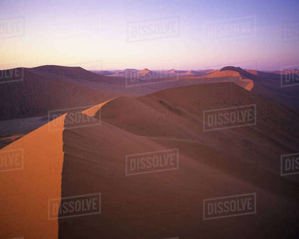 Overview Sand Dunes Namib Desert, Naukluft Park Sossusvlei, Namibia, Africa Rights-managed stock photo
