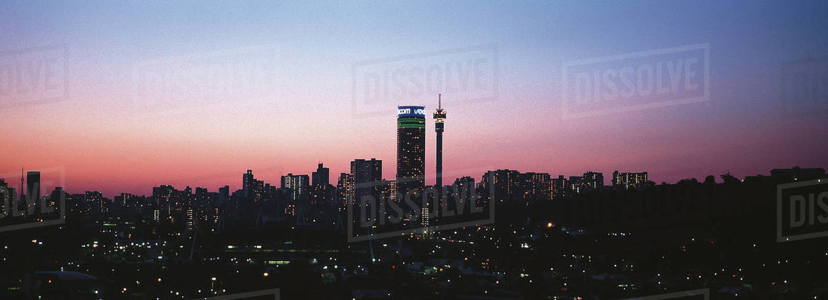 Johannesburg skyline with ponte tower and hillbrow tower at sunset johannesburg skyline with ponte tower and hillbrow tower at sunset johannesburg gauteng province south africa africa altavistaventures Choice Image