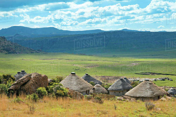 Basotho village near Clarens, Free State Rights-managed stock photo