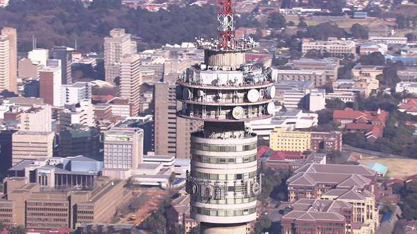 Aerial shot of the Hillbrow Tower Rights-managed stock video