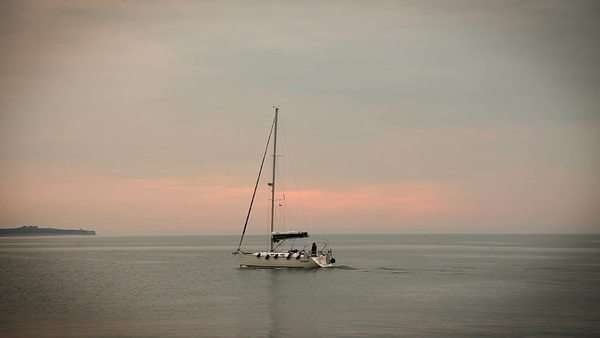 Panoramic shot of sailing boat on the sea Royalty-free stock video