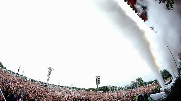 Fisheye shot of people dancing at an outdoor concert Royalty-free stock video