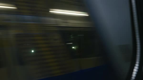 Hand-held shot of a subway through a window Royalty-free stock video
