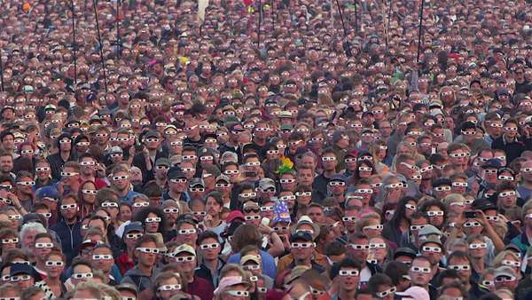 Big crowd with 3-D glasses at concert Royalty-free stock video