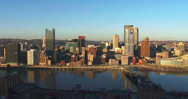 Wide shot of Pittsburgh, PA at dusk. Royalty-free stock video