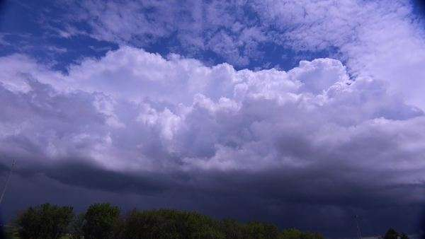 Large white thunderclouds loom on the horizon as a storm moves in. Royalty-free stock video